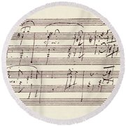 Portion Of The Manuscript Of Beethoven's Sonata In A, Opus 101 Round Beach Towel