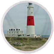 Portland Bill Lighthouse Round Beach Towel