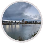 Portland City Downtown Cityscape During Evening Round Beach Towel