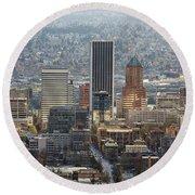 Portland City Downtown Cityscape Panorama Round Beach Towel