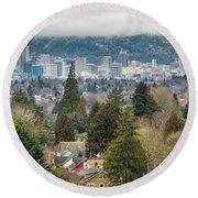 Portland City Skyline From Mount Tabor Round Beach Towel