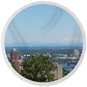 Portland Cityscape And Bridges On A Clear Blue Day Round Beach Towel