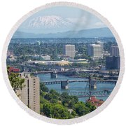 Portland Cityscape With Mount Saint Helens View Round Beach Towel