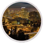 Portland Downtown Cityscape And Freeway At Night Round Beach Towel