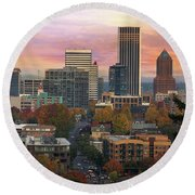 Portland Downtown Cityscape During Sunrise In Fall Round Beach Towel