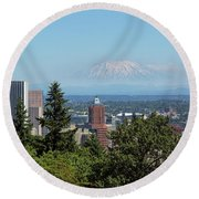 Portland Downtown Cityscape With Mount Saint Helens View Round Beach Towel