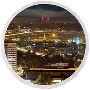 Portland Fremont Bridge Light Trails At Night Round Beach Towel