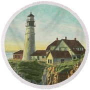 Portland Head Light At Sunrise Round Beach Towel