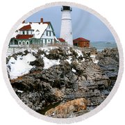 Portland Head Light In Winter Round Beach Towel