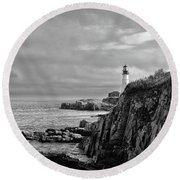 Portland Head Lighthouse - Cape Elizabeth Maine In Black And White Round Beach Towel