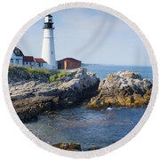 Portland Head Lighthouse Portland Me Round Beach Towel