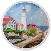 Portland Headlight By The Sea Round Beach Towel