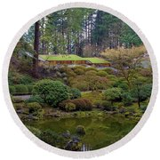 Portland Japanese Garden By The Lake Round Beach Towel