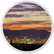 Portland Oregon City Skyline Sunset Panorama Round Beach Towel