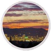 Portland Oregon City Skyline Sunset Panorama Round Beach Towel
