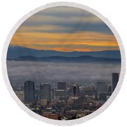 Portland Oregon Cityscape And Mount Hood At Sunrise Round Beach Towel