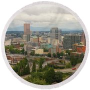 Portland Oregon Downtown Cityscape By Freeway Round Beach Towel