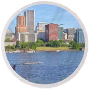 Portland Oregon Skyline And Rowing Boats. Round Beach Towel