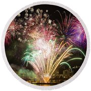Portland Waterfront 4th Of July Fireworks Round Beach Towel