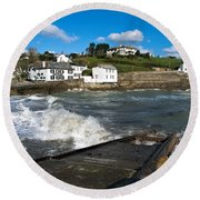 Portmellon In Winter Round Beach Towel