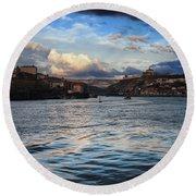 Porto And Vila Nova De Gaia River View Round Beach Towel