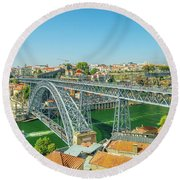 Porto Bridge Skyline Round Beach Towel