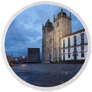 Porto Cathedral And Pillory Column In Portugal Round Beach Towel