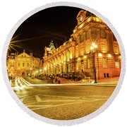 Porto City By Night Round Beach Towel