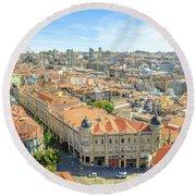Porto Historic Center Aerial Round Beach Towel