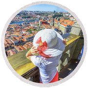 Porto Skyline Woman Round Beach Towel