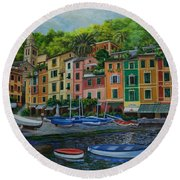 Portofino Harbor Round Beach Towel