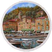 Portofino-la Piazzetta E Le Barche Round Beach Towel