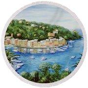 Portofino Majestic Panoramic View Round Beach Towel by Marilyn Dunlap