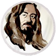 Watercolor Portrait Of A Man With Long Hair Round Beach Towel