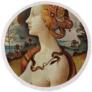 Portrait De Femme Dit De Simonetta Vespucci Round Beach Towel