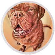 Portrait Drawing Of A Dog Round Beach Towel