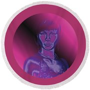 Portrait In Berry 1 Round Beach Towel