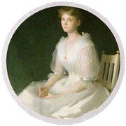Portrait In White Round Beach Towel