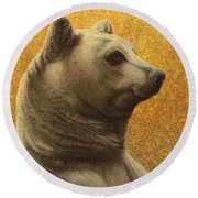 Portrait Of A Bear Round Beach Towel