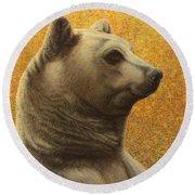 Portrait Of A Bear Round Beach Towel