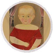 Portrait Of A Blonde Boy With Red Dress With Whip Round Beach Towel