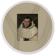 Portrait Of A Carmelite Friar Round Beach Towel
