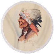 Portrait Of A Chief Round Beach Towel