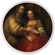 Portrait Of A Couple As Figures From The Old Testament Round Beach Towel
