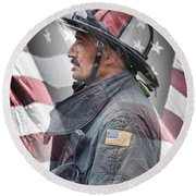 Portrait Of A Fire Fighter Round Beach Towel
