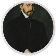 Portrait Of A Gentleman Half-length Wearing A Black Suit Round Beach Towel