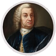 Portrait Of A Gentleman Half Length Wearing A Wig And A Blue Velvet Cape Round Beach Towel