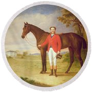 Portrait Of A Gentleman With His Horse Round Beach Towel