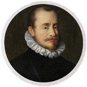 Portrait Of A Gentleman Workshop Of Hans Von Aachen - Circa 1600 Round Beach Towel