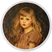 Portrait Of A Girl Round Beach Towel